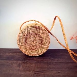 Round woven boho shoulder bag